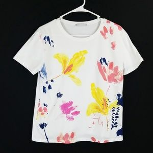 Zara WB Collection Top Sz M Floral Printed Tee